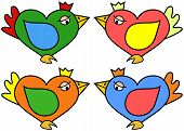 Illustration Of Heart Shaped Bird In Four Color Variations