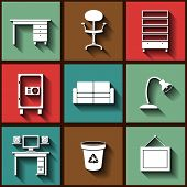 Set Of 9 Flat Icons With Office Furniture. Eps10
