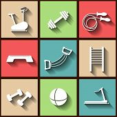Set Of 9 Flat Icons Of The Fintess Club Equipment. Eps10