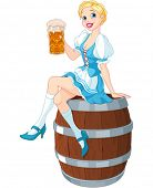 picture of keg  - German girl sits on the keg and holds mug  - JPG