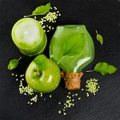 Top View Of Green Apple With Spa And Aromatherapy Accessories