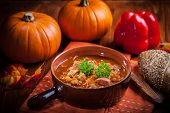 Gourmet hearty goulash soup  - traditional Hungarian cuisine