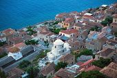 Fortified town of Monemvasia in Greece, top view.
