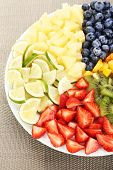 Sliced fruits on plate on table