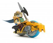 Ankara, Turkey - April 03, 2013 : Chima minifigure Laval driving Speedorz isolated on white backgrou