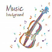 Violin Music Background With Notes