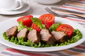 Hearty Lunch: Fried Duck Meat With Vegetables  Horizontal