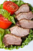 stock photo of roast duck  - roasted duck breast meat with vegetables closeup on a white plate vertical - JPG