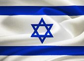 image of masada  - flag of Israel waving in the wind - JPG