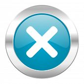 cancel internet blue icon