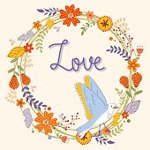 Beautiful love card with floral wreath and bird