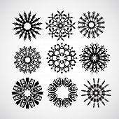 set of vector snowflakes on white