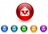 email internet icons colorful set