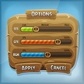 image of status  - Illustration of a funny cartoon design ui game wooden options control panel including status and level bars for app settings on tablet pc with spring blue sky background - JPG