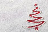 stock photo of ingredient  - Christmas tree on flour background - JPG
