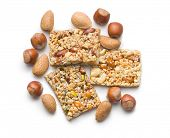 nut bar on white background