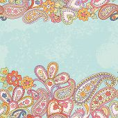 Hand Drawn Decorative Horizontal Seamless Pattern With Paisley