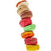 Tower stack of Colorful macaroons isolation on a white background