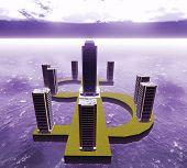Dollar  city -Imaginary illustration about future city