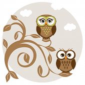 Two cute owls on the tree branch greetings card. Jpeg version.