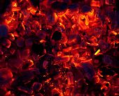 stock photo of ember  - beautiful glowing embers of wood on a black background