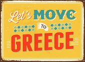 Vintage metal sign - Let's move to Greece - JPG Version