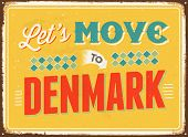 Vintage metal sign - Let's move to Denmark- JPG Version