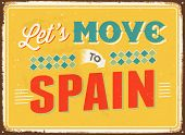 Vintage metal sign - Let's move to Spain - JPG Version