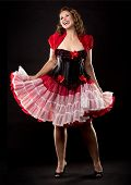 picture of bustiers  - beautiful woman wearing red and black pinup outfit - JPG