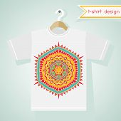 T-shirt Design With Bright Tribal Pattern
