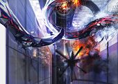 image of helicopters  - Upper helicopter city view with an alien destructing a buildings - JPG