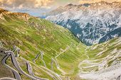 Serpentine Mountain Road In Italian Alps, Stelvio Pass, Passo Dello Stelvio, Stelvio Natural Park