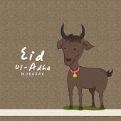Muslim community festival of sacrifice Eid-Ul-Adha greeting card design with goat on brown floral design decorated seamless background.