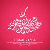 Arabic islamic calligraphy of text Eid-Ul-Adha on pink background for Muslim community festival cele