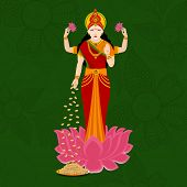 Hindu mythological Goddess Laxmi giving blessings on occasion of Hindu community festival Diwali cel