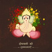 Hindu mythological Lord Ganesha giving blessing with Hindi text of Deepawali on colors splash background.