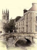 View of bridge in Helmsley, North Yorkshire with vintage effect added.