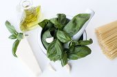 Ingredients for Pesto alla Genovese - basil, parmesan, garlic, olive oil