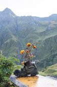 LA PEULE, SWITZERLAND - AUGUST 30: Walking boot turned flower pot in refuge La Peule, with mountains