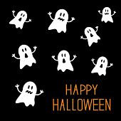 foto of happy halloween  - Many spook ghosts - JPG