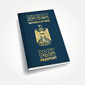 image of passport cover  - vector cover of Iraqi passport - JPG