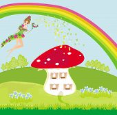 picture of fairy-mushroom  - funny cartoon mushroom house and beautiful fairy - JPG