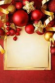 christmas frame background with red ornaments