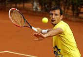 BARCELONA - APRIL, 22: Croatian tennis player Ivan Dodig in action during a match of Barcelona tenni