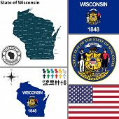 Map Of State Wisconsin, Usa