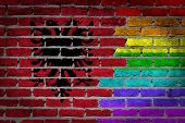 foto of albania  - Dark brick wall texture  - JPG