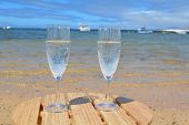 Two Glasses Of Champagne  In Paradise Island