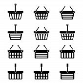 Twelve silhouettes of shopping baskets icons