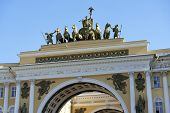 Triumphal Arch Of General Staff Building In Saint Petersburg, Russia