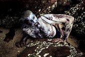 young man with a zombie body painting, covered with blood on the beach against a cliff (halloween to